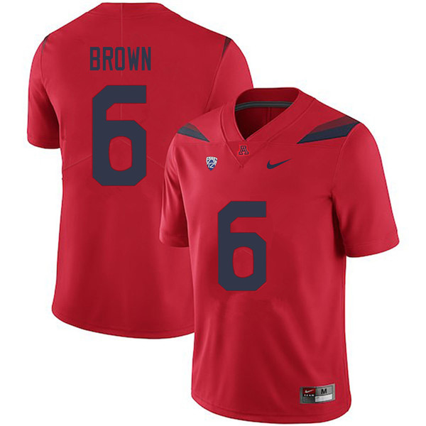 Men #6 Shun Brown Arizona Wildcats College Football Jerseys Sale-Red